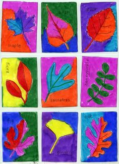 Use this is the fall to teach color and leaves at the same time.  Have students color the leaves one color and the background the complementary.  Have the fold their paper in half and then thirds, so they have six equal rectangles to work in for each drawing. [Marker Paper Art leaves trading cards fr Projects for Kids]