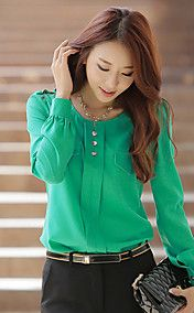 Vrouwen oversize Solid Color Blouse – EUR € 12.37