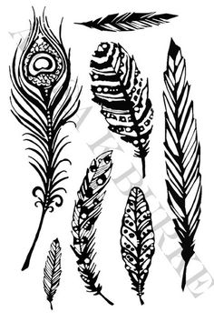 Alisa Burke — pretty little feathers collection- rubber stamp sheet