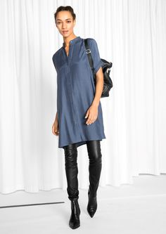 & Other Stories image 2 of Oversized Shirt Dress in Blue - really like the short, cuffed sleeves and the mandarin collar