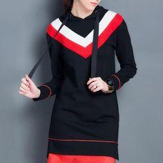 Fashion Geometric color block sweatshirt dress for women black pullover hoodies