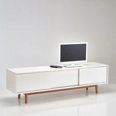 meuble tv vintage 3 portes coulissantes jimi la redoute meuble - Meubles Blanc Maison Du Monde
