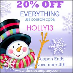 COUPON!  20% OFF your entire digital graphics, scrapbooking, printables, candy bar wrappers downloads --- order now through November 4th.  Use the code:  HOLLY13