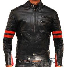 Brad Pitt Fight club black & red Motorcycle Slim Fit Jacket