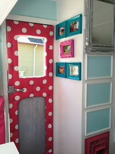 Building Our History: A dream realized  Tufted Door and closet area in 1957 Vintage canned ham camper door (((love the color scheme!)))