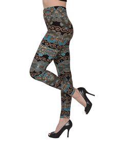 Isadora Teal & Black Arabesque Leggings - Women | zulily
