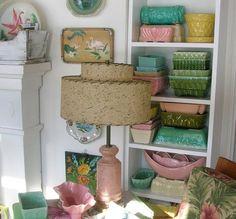 funky retro...McCoy pottery...flamingoes...barkcloth....50's lamp...
