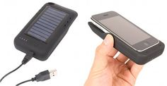 Thanko solar panel charger for iPhone. Takes about 3 hours to fully charge.