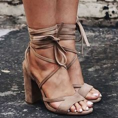 Tidebuy.com Offers High Quality Suede Lace-Up Chunky Heel Brown Sandasl, We have more styles for Heel Sandals