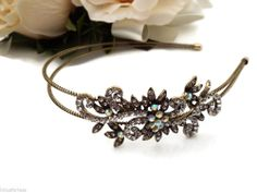 Bridal Prom Vintage Antiqued Gold & Crystal Flower Tiara Headband Fascinator