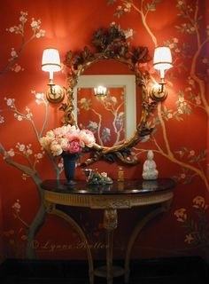 Photos of Lynne Rutter Murals and Decorative Painting - San Francisco, CA. Chinoiserie Powder Room in the San Francisco Decorator Showcase House: mural and interior design by Lynne Rutter Chinoiserie Wallpaper, Red Wallpaper, Chinoiserie Chic, Feng Shui, Interior And Exterior, Interior Design, Orange Interior, Design Design, Design Ideas