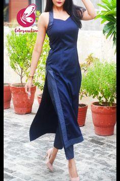 Plain Kurti Designs, Silk Kurti Designs, Kurta Designs Women, Kurti Designs Party Wear, Long Dress Design, Dress Neck Designs, Designs For Dresses, Indian Fashion Dresses, Dress Indian Style