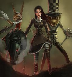 Alas I finally had the mood to finish this, let me know what you guys think and I recorded some of it (painting the mad hatter and march hare) I dont kn. Alice- Return To The Madness Alice In Wonderland Artwork, Dark Alice In Wonderland, Adventures In Wonderland, Lewis Carroll, Alice Liddell, Alice Madness Returns, Dark Fantasy, Fantasy Art, Dibujos Dark