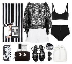 """The beach in black and white"" by terry-tlc ❤ liked on Polyvore featuring STELLA McCARTNEY, ále by Alessandra, Chanel, The Row, Lisa Marie Fernandez, St. Tropez, Anya Hindmarch and Yves Saint Laurent"