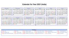 2021 Indian Calendar Printable