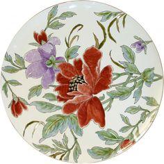 Lampas Or - Grand plat China Painting, Ceramic Painting, Fabric Painting, Ceramic Art, Hand Painted Plates, Hand Painted Ceramics, Fabric Paint Designs, Oriental Flowers, Grenade