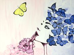 """Acrylic """"Butterfly woman"""" painting by artsan-design! Woman Painting, Designer, Poster, Butterfly, Drawings, Women, Custom Cars, Sketches, Drawing"""