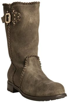 jimmy choo london Olive Distressed Leather Hexagon Fur Lined Boots - Lyst