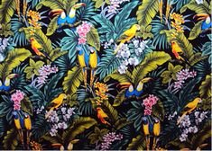 10mamo Birds - Parrots and Macaws with orchid flowers, cotton apparel fabric.