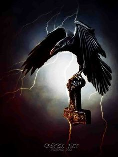 Raven with Mjolnir by thecasperart on DeviantArt