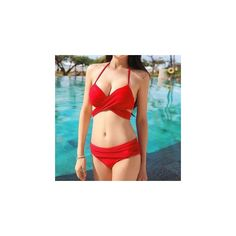 Cross-Strap Bikini ($33) ❤ liked on Polyvore featuring swimwear, bikinis, women, red bikini, bikini two piece, red swimwear, red bikini swimwear and bikini swim wear
