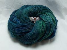 Handdyed Sparkle Sock Yarn in Emerald Lake by dragonflydyeworks on Etsy.