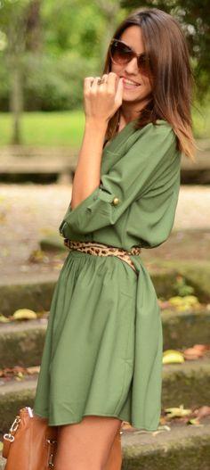 Green dress with leopard print belt