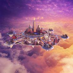 DreamState Las Vegas Tao Club by aiiven Fantasy City, Fantasy Places, Sci Fi Fantasy, Fantasy World, Fantasy Art Landscapes, Fantasy Landscape, Futuristic City, Futuristic Architecture, Edc Las Vegas