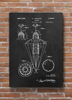 Parachute Patent Parachute Print Skydiving Wall Art by dalumna