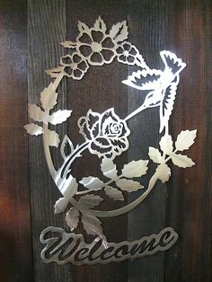 Hummingbird Flower Welcome Sign, Metal art, mothers day gift, plasma cut metal art