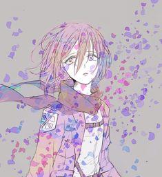 Tags: Anime, Koko (Pixiv56390), Shingeki no Kyojin, Mikasa Ackerman, Purple