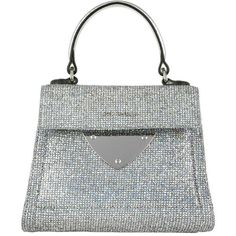 Coccinelle Shoulder Bag - Glitter Handle Bag Silver/Silver - in silver... ($250) ❤ liked on Polyvore featuring bags, handbags, shoulder bags, silver, handbags shoulder bags, silver shoulder bag, man bag, silver purse and flap shoulder bag