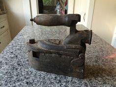 VERY RARE Antique German Sad Iron Charcoal Chimney Wood Handle 19th Century