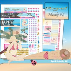 August Happy Planner Monthly kit, August Monthly Stickers Printable, MAMBI Monthly Stickers, Printable Planner Stickers, cutfiles HP-07 by BestPrintables4U on Etsy