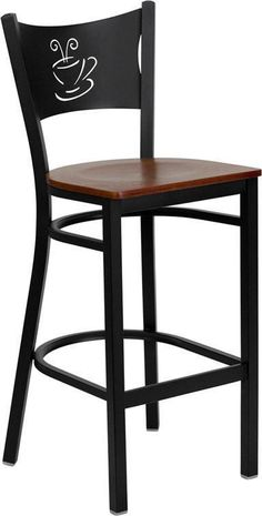 HERCULES Series Black Coffee Back Metal Restaurant Bar Stool with Cherry Wood Seat XU-DG-60114-COF-BAR-CHYW-GG by Flash Furniture