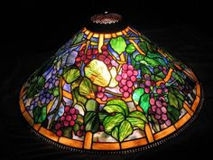 Tiffany Reproduction Grape Cone Lamp. stained glass lamp supplies