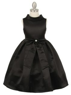 Black Satin Cowl Neckline with Large Bow Flower Girl Dress (Available in Sizes 2-12 in 7 Colors)