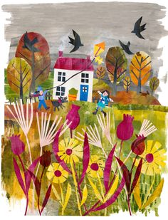 Tracey English - UK based illustrator and surface pattern designer. Open to licensing projects and commissions for global clients. Paper Collage Art, Flower Collage, Paper Art, Painting Flowers Tutorial, Cut Paper Illustration, Paper Cut Design, Painted Paper, Disney Drawings, Art For Kids