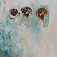 """Enjoy this viszla trio! """"Covey Rise"""" by Katherine McClure. 20 x 20 inches. Acrylic, pencil, and gloss on gallery wrapped canvas. SOLD"""