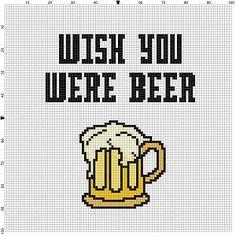 Wish You Were Beer Cross Stitch Pattern by SnarkyArtCompany Cross Stitch Bird, Cross Stitch Charts, Cross Stitching, Cross Stitch Embroidery, Embroidery Patterns, Modern Cross Stitch Patterns, Cross Stitch Designs, Needlepoint, Crossstitch
