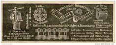 Original-Werbung/ Anzeige 1905 : SCHRAUBSTÖCKE / RÄDER / KÖHLER & BOVENKAMP BARMEN - ca. 150 x 55 mm