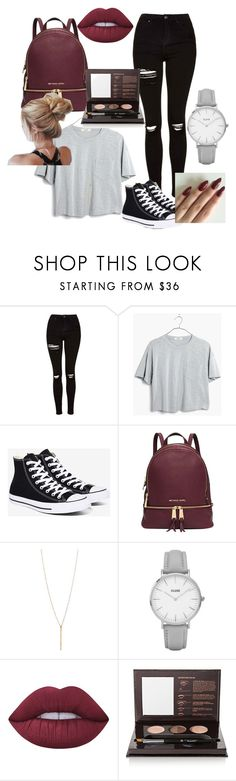 """""""To school #2"""" by jaylynn-281 ❤ liked on Polyvore featuring Topshop, Madewell, Converse, Michael Kors, Lime Crime and Anastasia Beverly Hills"""