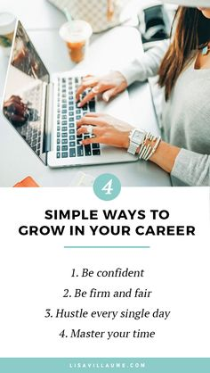 Here are 4 simple ways to grow in your career that work every time! They are perfect to implement especially early on in your career. #career #work #promotion