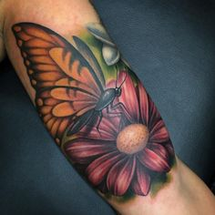 Amazing Tattoo Color Design With Butterfly Tattoo Design And Flower Tattoo Design Butterfly Tattoo Cover Up, Butterfly Tattoo Meaning, Butterfly Tattoos For Women, Butterfly Tattoo Designs, Pointillism Tattoo, Sleeve Tattoos, Thigh Tattoos, 3d Tattoos, Sexy Tattoos