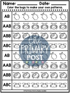teaching patterns, kindergarten patterns, patterns worksheets Patterning Kindergarten, Teaching Patterns, Pattern Worksheet, Teaching Math, Worksheets, Abs, Student, Activities, How To Make