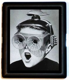 Weird Strange Odd Retro 1950's Boy with Space Age Glasses Atomic Age Design Cigarette Case or Business Card Case Wallet
