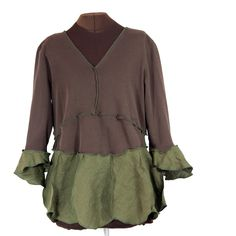 Secret Lentil Clothing - brown and olive green Comforteria shirt - linen   reconstructed - 1X ,