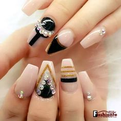 Pink & Black and golden nails.... see more
