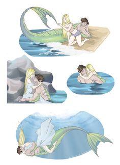 Mermay 2 by I love the idea of a merman instead of a mermaid! Mermaid Drawings, Mermaid Art, Art Drawings, Fantasy Magic, Fantasy Art, Art Manga, Anime Art, Little Mermaid Castle, Illustration Fantasy