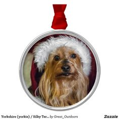 Shop Yorkshire (yorkie) / Silky Terrier Ornament created by Great_Outdoors. Silky Terrier, Family Memories, Hanging Ornaments, Holidays And Events, Yorkie, Silver Color, Event Planning, I Shop, Goodies